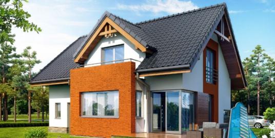 Proiect de casa cu parter, mansarda si garaj pentru un automobil-100715