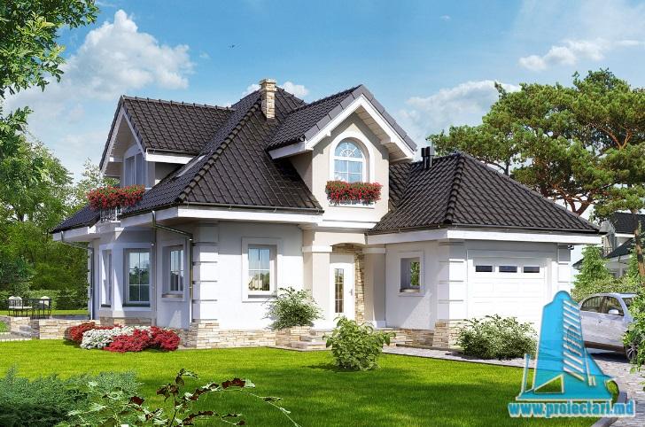 Proiect de casa cu parter, mansarda si garaj pentru un automobil-100658