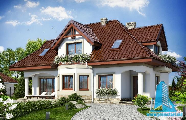 Proiect de casa cu parter si mansarda – 100645