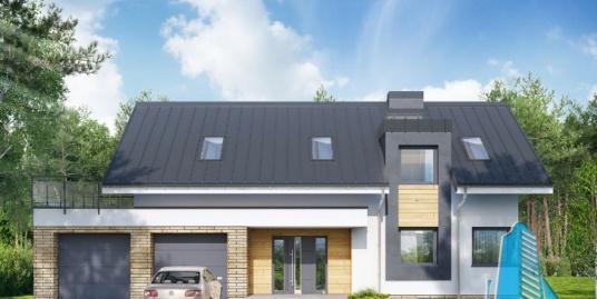 Proiect de casa cu parter, mansarda si garaj pentru doua automobile-100635
