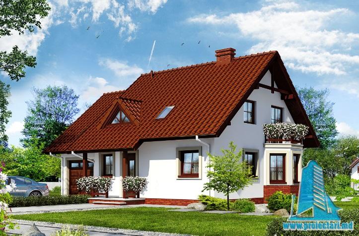 Proiect de casa cu parter, mansarda si garaj pentru un automobil-100637