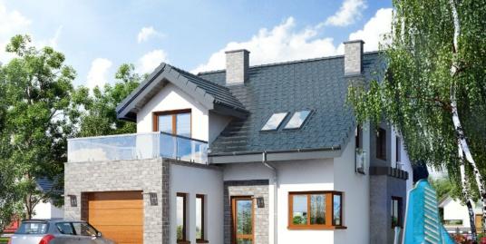 Proiect de casa cu parter, mansarda si garaj pentru un automobil-100639