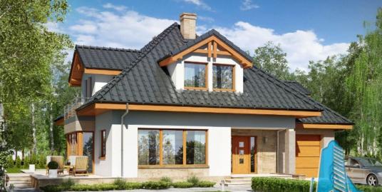 Proiect de casa cu parter, mansarda si garaj pentru un automobil-100642