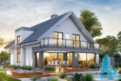 Proiect de casa cu masarda si garaj pentru doua automobile