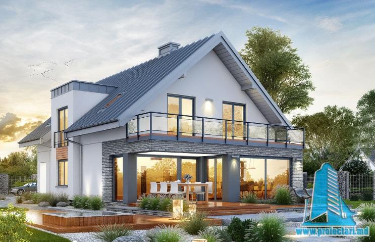 Proiect de casa cu parter, mansarda si garaj pentru doua automobile-100644