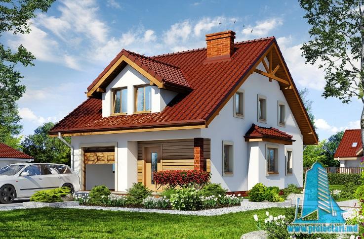 Proiect de casa cu parter, mansarda si garaj pentru un automobil-100629
