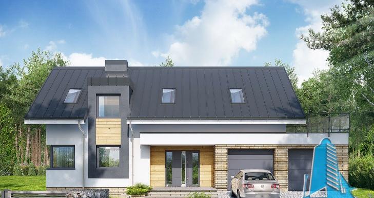 Proiect de casa cu parter, mansarda si garaj pentru doua automobile
