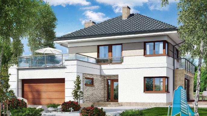 Proiect de casa cu parter, etaj si garaj pentru doua automobile