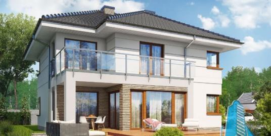 Proiect de casa cu parter, etaj si garaj pentru un automobil-100672