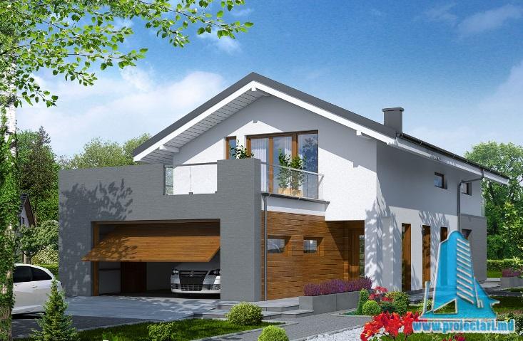 Proiect de Casa cu etaj si garaj pentru doua automobile – 100702