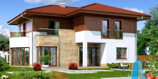 Proiect de casa cu parter, etaj si garaj pentru doua automobile-100665