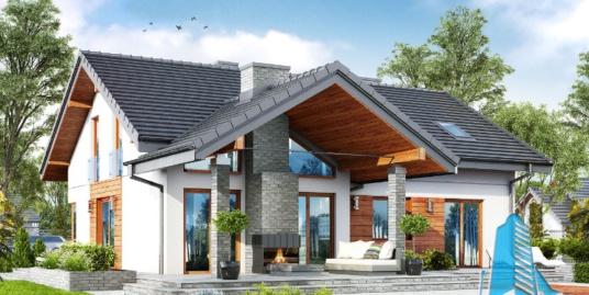 Proiect de casa cu parter, mansarda si garaj pentru doua automobile-100655