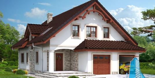Proiectul de Casa de locuit cu parter, mansarda si garaj pentru doua automobile – 100682