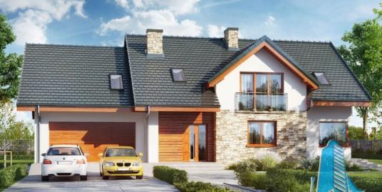 Proiect de Casa cu parter, mansarda si garaj pentru doua automobile – 100700