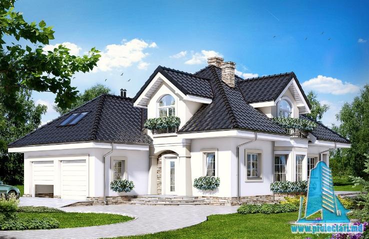 Проект дома с партером, мансардой и гаражом двух машин – 100708