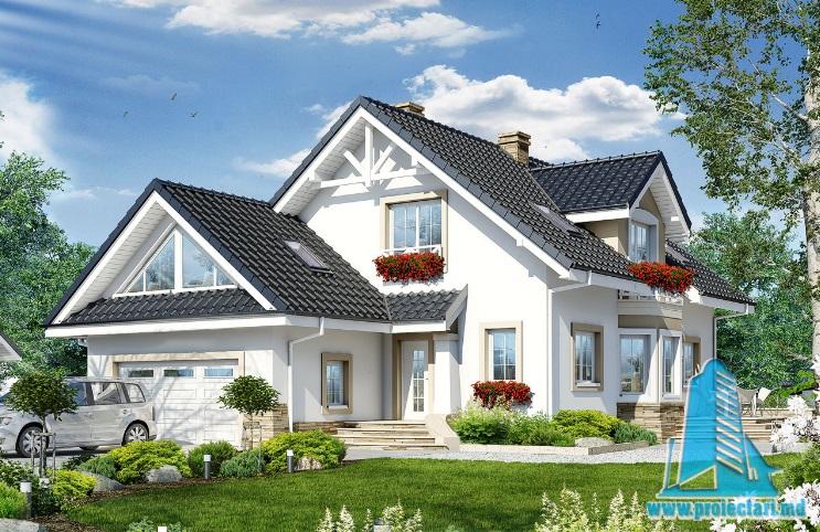 Proiect de Casa cu parter, mansarda si garaj pentru doua automobile – 100710