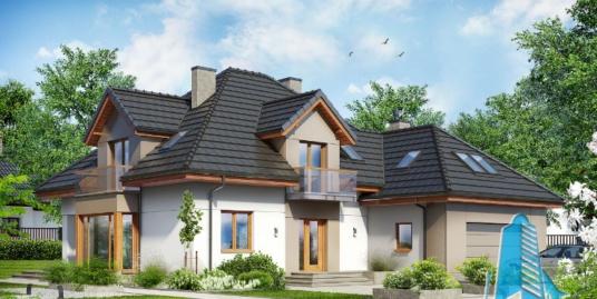 Proiect de casa cu parter, mansarda si garaj pentru doua automobile-100650