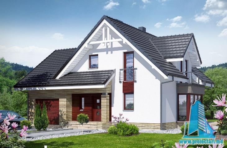 Proiect de casa cu parter, mansarda si garaj pentru un automobil-100661