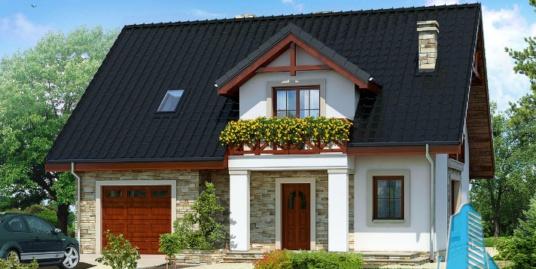 Proiect de casa cu parter, mansarda si garaj pentru un automobil-100663
