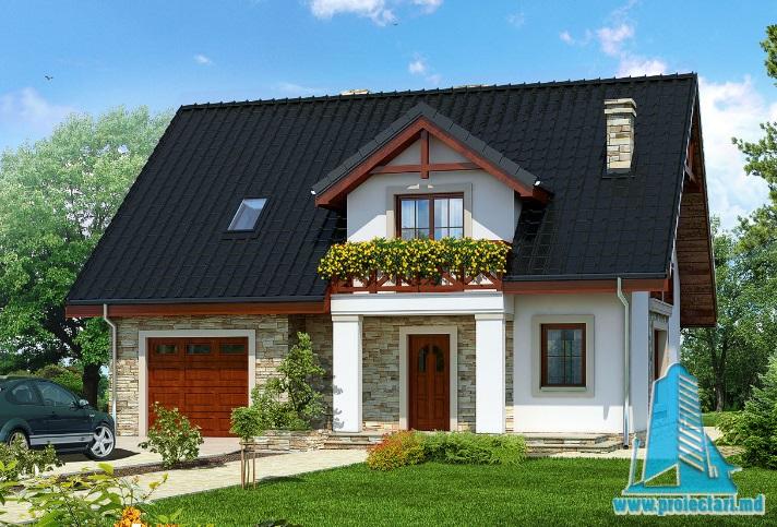 Проект дома с партером, мансардой и гаражом для одного автомобиля-100663