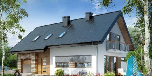 Proiect de casa cu parter, mansarda si garaj pentru un automobil-100676