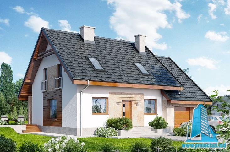 Proiect de casa cu parter, mansarda si garaj pentru un automobil-100678