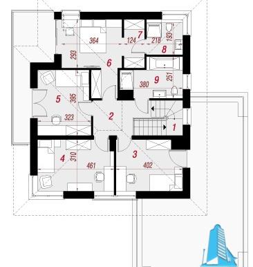 etaj Proiect de casa cu parter, etaj si garaj pentru doua automobile