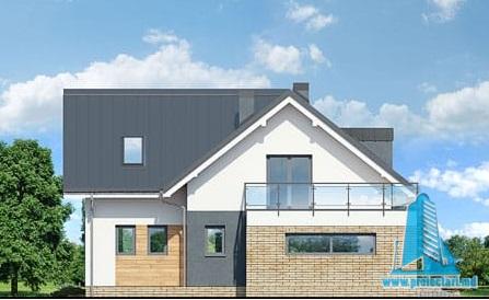 fatada Proiect de casa cu parter, mansarda si garaj pentru doua automobile