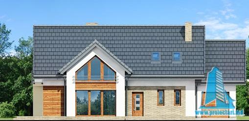fatada-1 Proiect de casa cu parter, mansarda si garaj pentru un automobil-100626