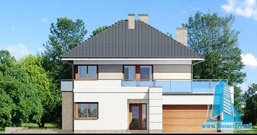 fatada-1 Proiect de casa cu parter, etaj si garaj pentru doua automobile