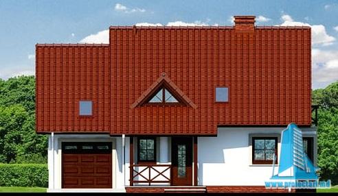 fatada-1 Proiect de casa cu mansarda si  garaj pentru un automobil