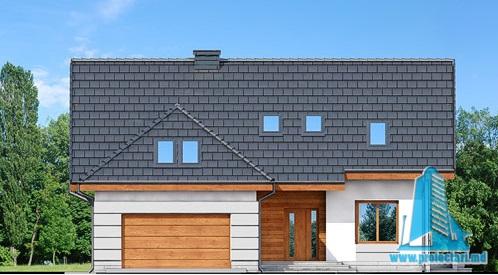 fatada-1 Proiect de casa cu parter, mansarda si garaj pentru doua automobile