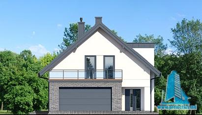 fatada-1 Proiect de casa cu masarda si garaj pentru doua automobile