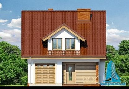 fatada-1 Proiect de casa cu parter, mansarda si garaj pentru un automobil