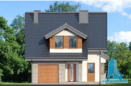 fatada-1 Proiect de casa cu parter, mansarda si garaj pentru un automobil-100630