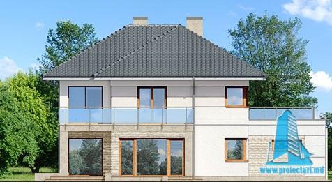 fatada-2 Proiect de casa cu parter, etaj si garaj pentru doua automobile