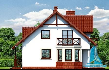 fatada-2 Proiect de casa cu mansarda si  garaj pentru un automobil