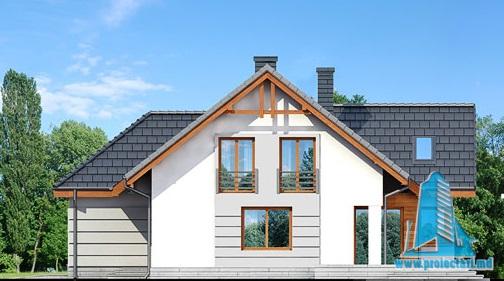 fatada-2 Proiect de casa cu parter, mansarda si garaj pentru doua automobile