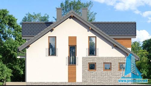 fatada-2 Proiect de casa cu parter, mansarda si garaj pentru un automobil-100630