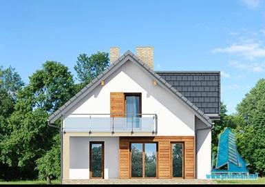 fatada-3 Proiect de casa cu parter, mansarda si garaj pentru un automobil-100626
