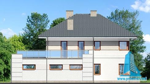 fatada-3 Proiect de casa cu parter, etaj si garaj pentru doua automobile