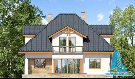 fatada-3 Proiect de casa cu parter, mansarda si garaj pentru un automobil