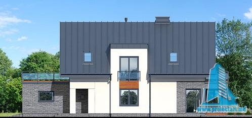fatada-3 Proiect de casa cu masarda si garaj pentru doua automobile
