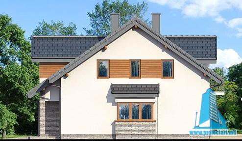 fatada-3 Proiect de casa cu parter, mansarda si garaj pentru un automobil-100630