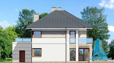 fatada-4 Proiect de casa cu parter, etaj si garaj pentru doua automobile