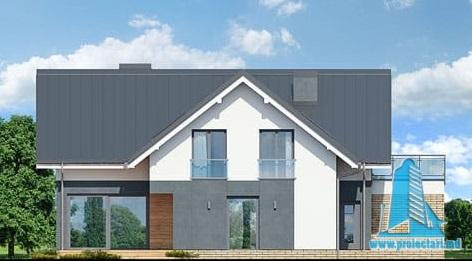 fatada-4 Proiect de casa cu parter, mansarda si garaj pentru doua automobile
