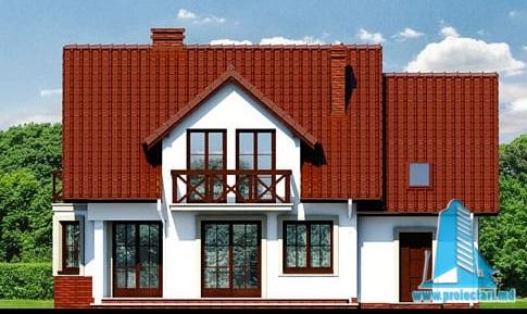 fatada-4 Proiect de casa cu mansarda si  garaj pentru un automobil