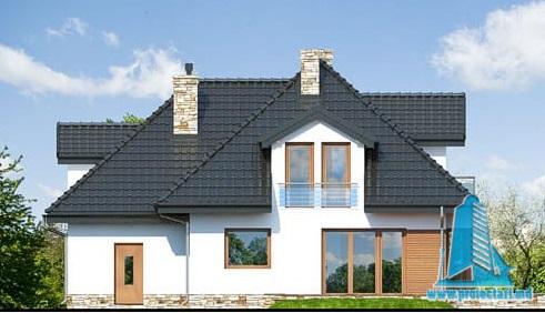 fatada-4 Proiect de casa cu parter, mansarda si garaj pentru un automobil
