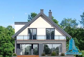 fatada-4 Proiect de casa cu masarda si garaj pentru doua automobile