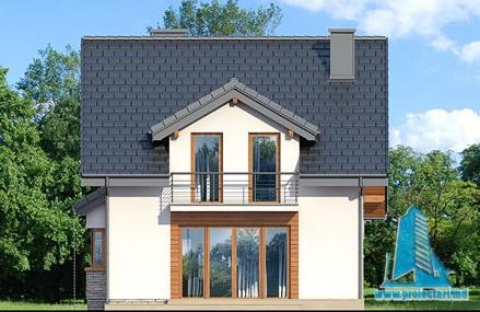 fatada-4 Proiect de casa cu parter, mansarda si garaj pentru un automobil-100630